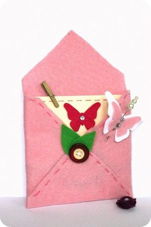 carte + enveloppe feutrine  card + envelope felt   butterfly