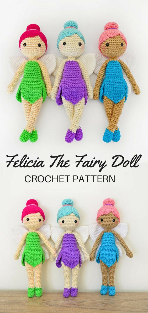 CROCHET PATTERN in English - Felicia the Fairy Doll - 11 in./28 cm ...