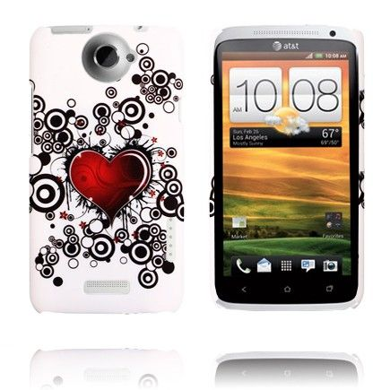 Valentine (Red Heart & Circles) HTC One X Cover