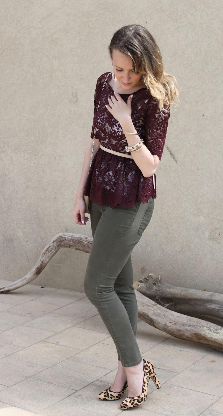 Oxblood bordeaux peplum lace top, olive jeans, leopard pumps