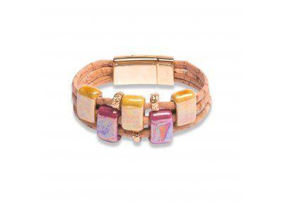 CORK BEIGE BRACELET WITH MUSTARD AND FUCHSIA CERAMICS | Jewellery | Belle Creations - wholesale eel skin wallets & purses