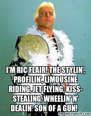 "Ric Flair quote: ""I'm Ric Flair! The stylin', profilin', limousine riding, jet flying, kiss stealing, wheelin' n' dealin', son of a gun!"""