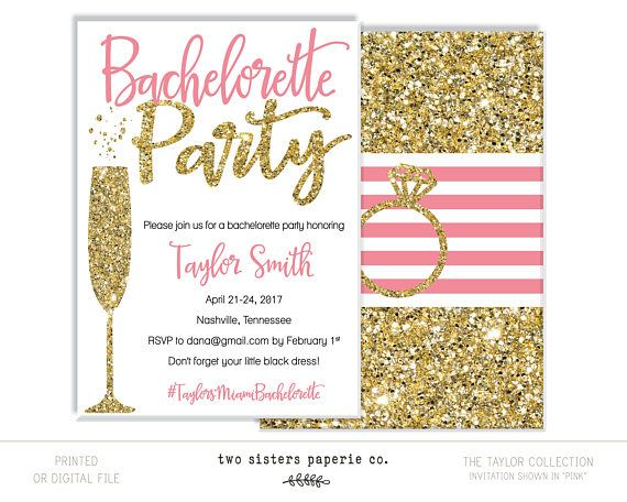 // The TAYLOR Collection // Completely customizable, colors can be changed! This listing is for a digital file only, a high resolution JPG for you to print on your own Includes 3 rounds of revisions Optional Add ons: -Striped Ring Back -Bachelorette Itinerary -MATCHING Snapchat
