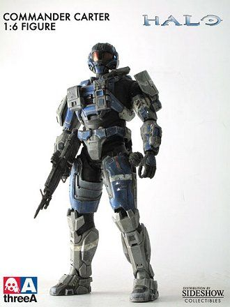 Commander Carter Figure from Halo. It is made by ThreeA Toys and is 1:6 scale (approx. 34cm / 13.4in high).  http://film-tv.minimodelfilmstuff.co.uk/film-tv-collectable/halo-commander-carter-figure-threea-toys-901930 The Commander Carter Sixth Scale Figure features:  •Stands 13.5 inches tall •Fiber-optic illuminated helmet and combat armor •Magnetized shoulder shields and rear pouch that all weapons can be attached to •Rubberized suit over a fully articulated body with complete...