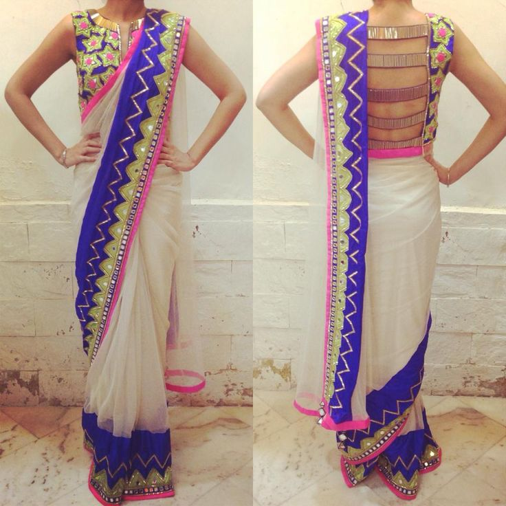 Great idea on how to design the blouse and sari draping.
