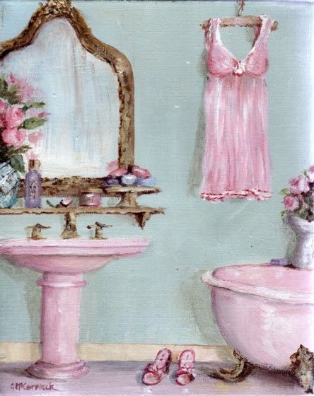 PRINT ON PAPER - The Claw Footed Bath; bathroom decor; art; painting Pinned by @w3nd333