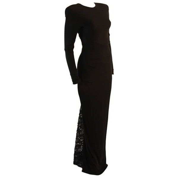 Preowned Gorgeous Vicky Tiel Sequined Lace Black Gown Size 38 ($2,895) ❤ liked on Polyvore featuring dresses, gowns, black, evening gowns, long-sleeve maxi dress, flare sleeve dress, long sleeve gowns, long sleeve sequin gown and sequin evening gowns