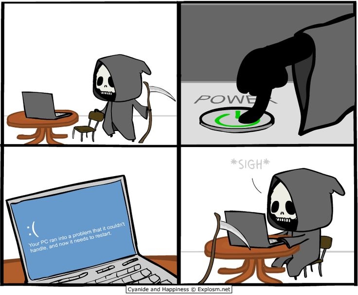 LOL! Even Death experiences the Microsoft OS blue screen of death... From Cyanide & Happiness (Explosm.net)