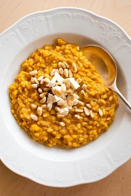 roasted pumpkin and barley risotto with feta, pine nuts, and walnut oil