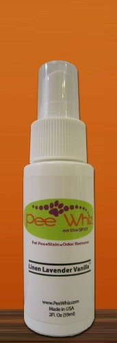 $3.99 Pee Whiz- Urine, Stain, Odor Remover & Cleaner - Linen Lavender Vanilla- Travel Size - *** Pee Whiz- Urine, Stain, Odor Remover & Cleaner ***  --Cleans, Removes & Deodorizes Pet Pee (Urine) Stains, Odors, Vomit, Pet Waste Film and Feces.   --100% Biodegradable   --100% Natural Enzyme Based   --Earth Friendly and Plant Based   --All Naturual Fragrance   --No Alcohols, Detergents or Bleaches   --Saf ...