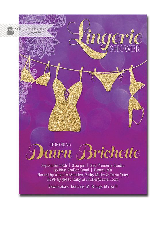 Lingerie shower invitation lace purple bokeh gold glitter for Modern bridal shower invitations
