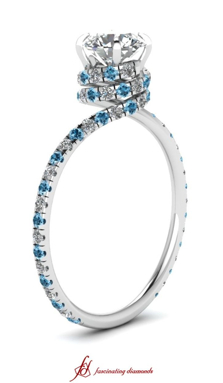 Sleek Spiral Ring || Round Cut Diamond Side Stone Ring With Ice Blue Topaz In 14k White Gold