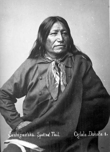 Chief Spotted Tail (1823 - 1881) was a Brulé Lakota tribal chief. A great warrior in his youth, having taken part in the Grattan massacre. He had become convinced of the futility of opposing the white incursions into his homeland; he became a statesman, speaking for peace and defending the rights of his tribe.   He made several trips to Washington, D.C in the 1870s to represent his people, and was noted for his interest in bringing education to the Sioux.