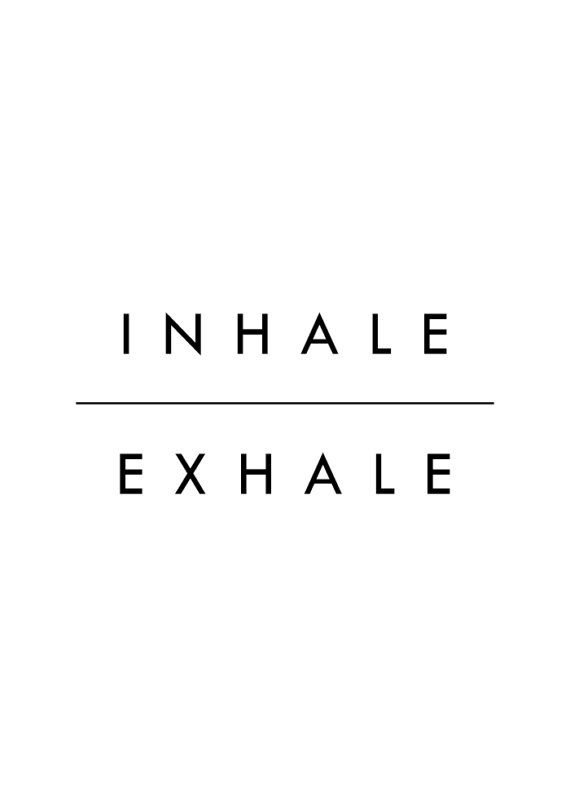 Inhale Exhale Print Wall Art Minimalist Decor Black by MottosPrint