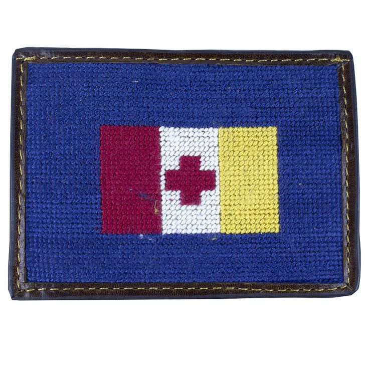 Kappa Alpha Order Needlepoint Credit Card Wallet in Blue by Smathers & Branson