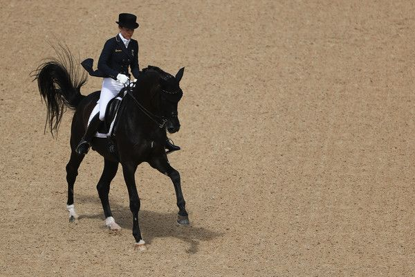 Kristina Broring-Sprehe of Germany riding Desperados Frh competes in the Mens/Womens Team Dressage Grand Prix event on Day 6 of the Rio 2016 Olympic Games at the Olympic Equestrian Centre on August 11, 2016 in Rio de Janeiro, Brazil.