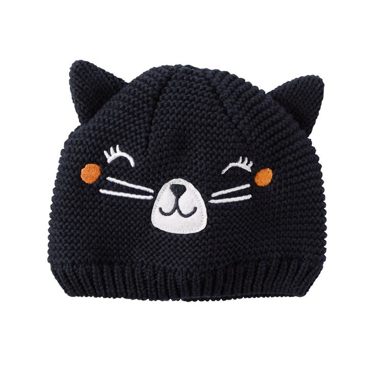 Baby Girl Carter's Halloween Knit Cat Face Beanie, Size: 12-24 MONTH, Black