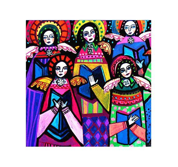 FLASH SALE Angel Choir Mexican Folk Art Ceramic Tile Gift Gospel COASTER Gift by Heather Galler