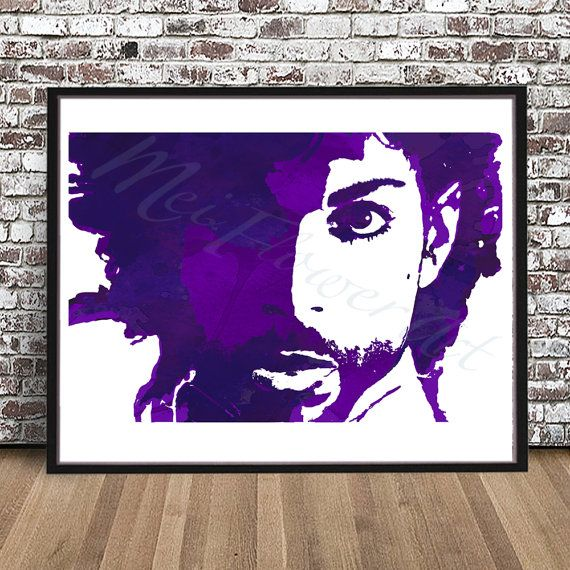 Prince Rogers Nelson watercolor style PRINT, Prince Singer, Purple Rain painting, poster illustration, The Artist Formerly Known As, RIP