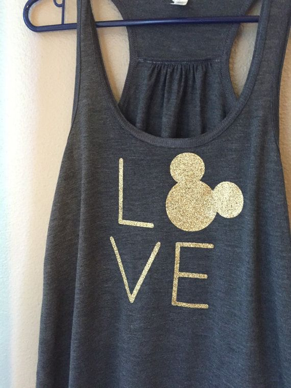 Adult Size Disney LOVE // Disney Inspired // Mickey Ears Adult Tank // Glitter Disney Shirt