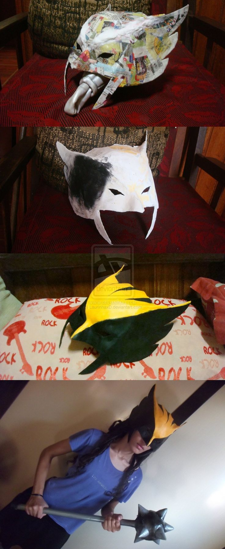 Hawkgirl by ~LaurinhaxD on deviantART (could this idea also be useful for making an animated series Wolverine mask, mebbe?)