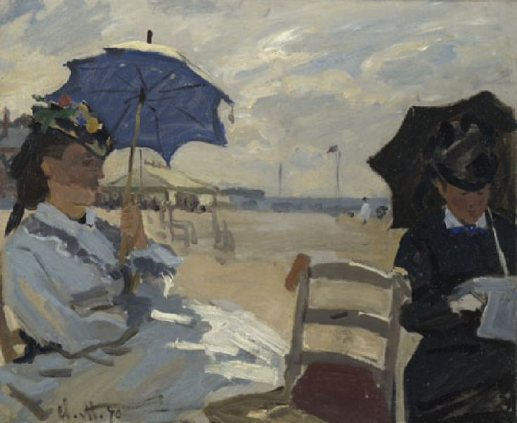 Claude Monet (French, 1840-1926) – The Beach at Trouville, 1870 (Oil on canvas, The National Gallery, London) – The figure to the left is probably Monet's wife Camille, and the woman reading may be the wife of Eugène Boudin… The painting is unusual in its composition – a close-up of symmetrically disposed figures – and in the bravura of its technique. The white dashes of paint indicating the dress are prominent. They contrast with the shadowed face, probably concealed by a veil, and the…