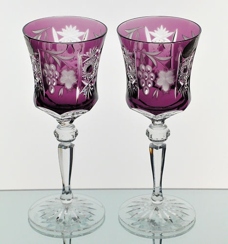 Ajka Marsala Amethyst Purple Cut to Clear Crystal Wine Goblet Glass Pair New