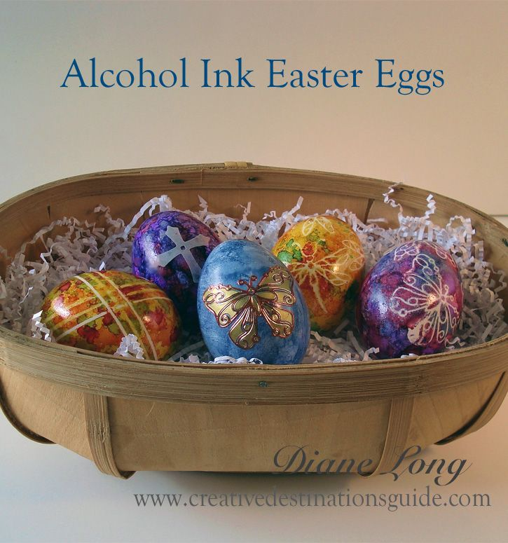 Alcohol Ink Easter Eggs. So easy to make. Mask off areas with stickers, use several colors of ink, dry, remove stickers. See #howto instruction sheet - Creative Destinations Guide