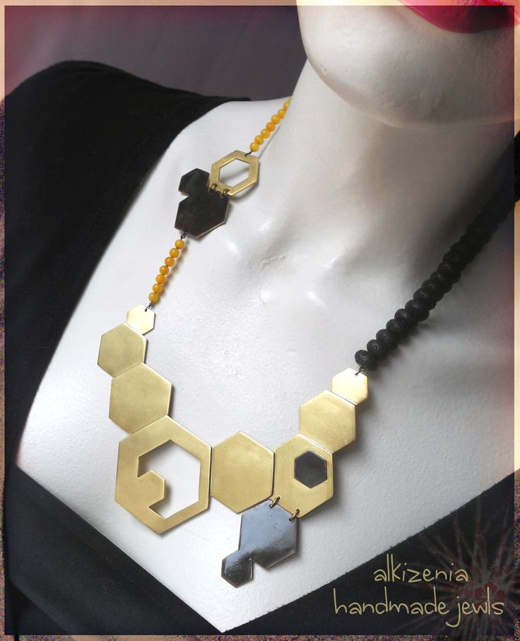 handmade metal necklace with semi-precious stones