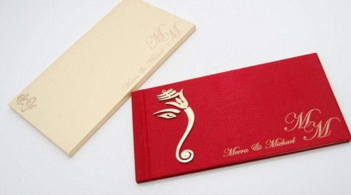 Hindu wedding cards, Hindu wedding invitations, Indian wedding cards UK. Red, cream and gold. Lord Ganesha.