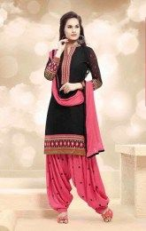 Gorgeous black Color Amazingly Embroidered Patiala Suit Of Banarasi Jacquard Fabric