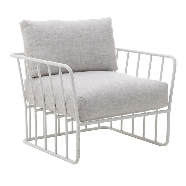 Πολυθρόνα μεταλλική γκρι/λευκή 79x70x57cm Inart 3-50-954-0020