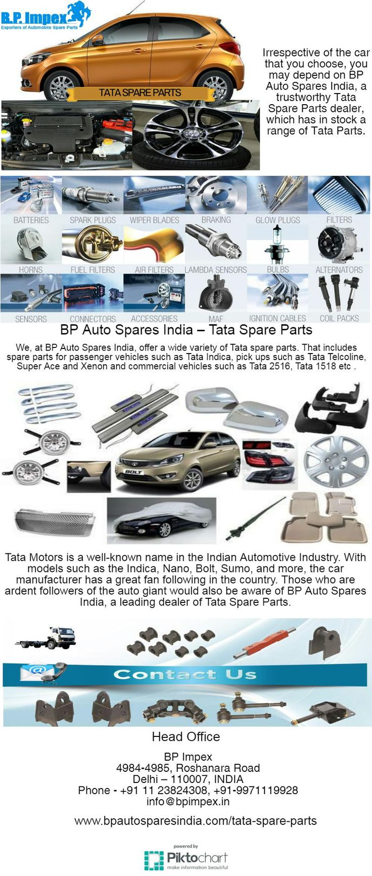 Tata Motors is a well-known name in the Indian Automotive Industry. With models such as the Indica, Nano, Bolt, Sumo, and more, the car manufacturer has a great fan following in the country. Those who are ardent followers of the auto giant would also be aware of BP Auto Spares India, a leading dealer of Tata Spare Parts.