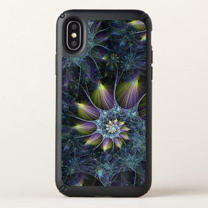 Blue Purple Nautilus Spiral Floral Fractal Pattern Speck iPhone X Case - chic design idea diy elegant beautiful stylish modern exclusive trendy