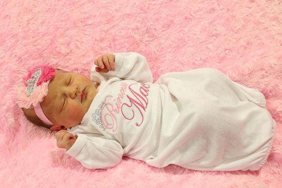 Personalized Newborn Baby Girl Clothes New Baby Gift Take Home Outfit Layette Gown Princess Gown Coming Home Outfit  Tiara Headband $28