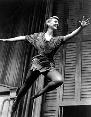 mary martin as Peter Pan. I never got to see this but, I never could understand why they used a girl for Peter Pan?
