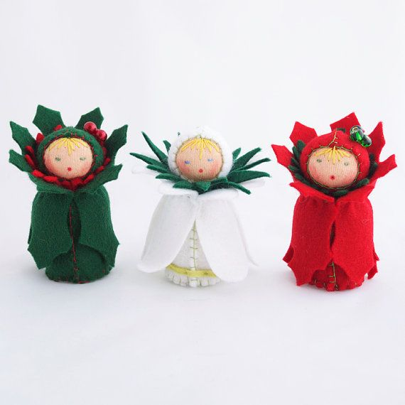 Christmas Felt Ornaments  Miniature Dolls  Green by GigiInStitches,