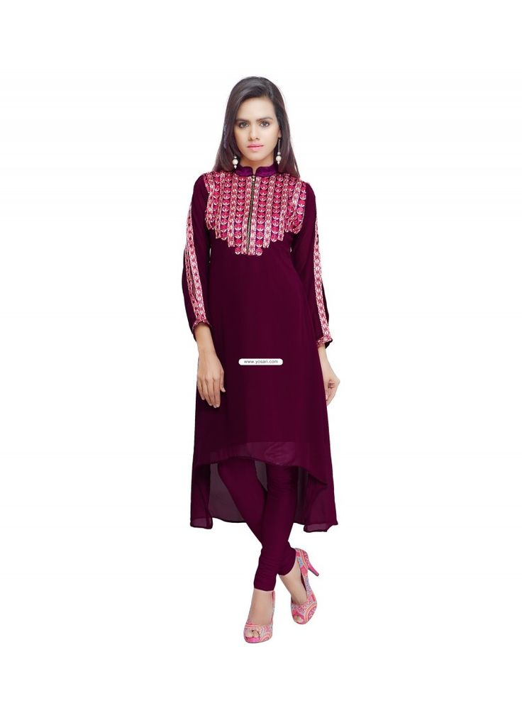 Magenta Faux Georgette Embroidered Work Party Wear Kurti