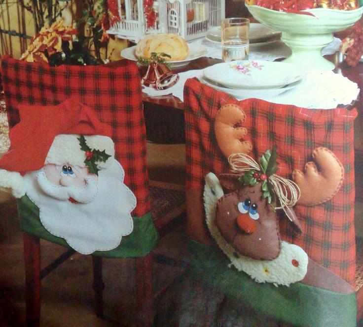capa de cadeira para o Natal -  com molde e PAP  (DIY): Chair, Moldings De, Pap Diy, Capa De Cadeira, Two People, Natal Decoração, Idea For, Christmas, Felt Christmas