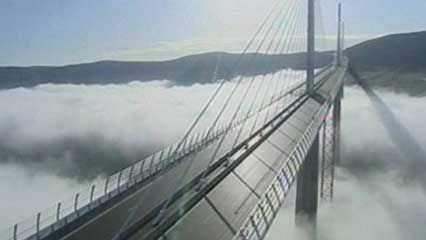 Overview of the Millau Viaduct, spanning the Tarn River, southern France.Made in Aveyron -Ruthénois anti -brouillard.