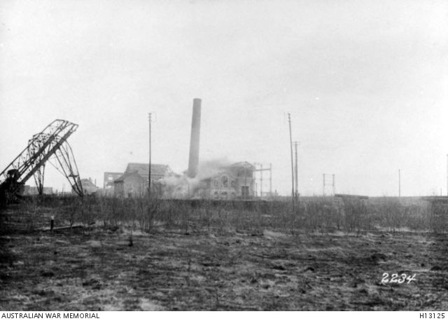 Somme, France. c. March 1917. An electricity works being destroyed by the German Army as it prepares to leave the area. (Donor German War Museum; Bufa 2234)