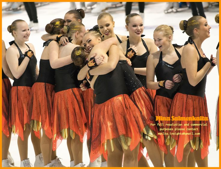 Team Hysterique (Junior B) FIN celebrating gold medals at a competition March 2014