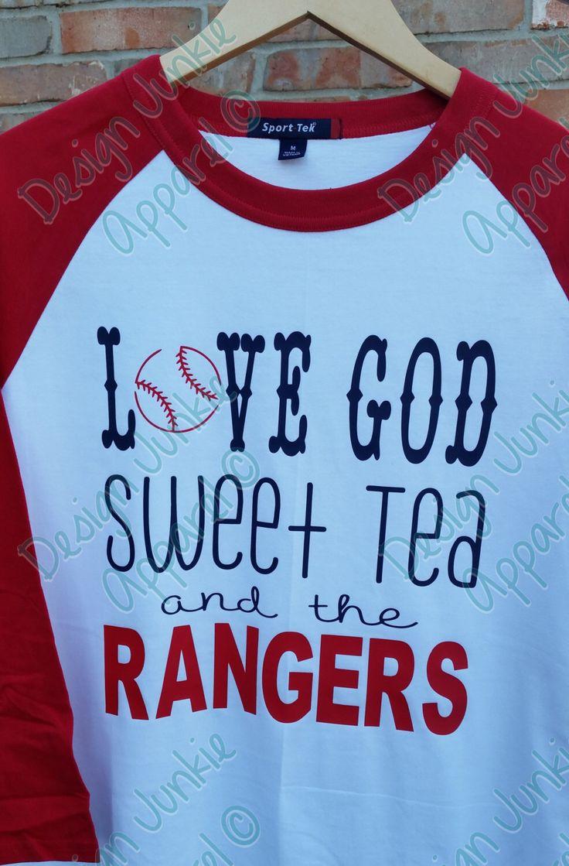 Raglan Baseball Tee - Texas Rangers Love God Sweet Tea & the Rangers by DesignJunkieApparel on Etsy https://www.etsy.com/listing/221896088/raglan-baseball-tee-texas-rangers-love