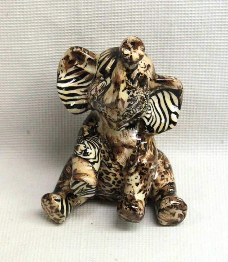 La Vie Safari Patchwork Baby Elephant Figurine Home Decor