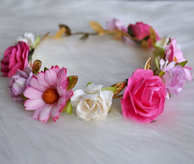 MARGUERITE ROSE CROWN, flower crown, gold flower crown, pink flower crown, flower girl, flower child, elastic flower crown by ReignbyBrogan on Etsy https://www.etsy.com/listing/238821108/marguerite-rose-crown-flower-crown-gold