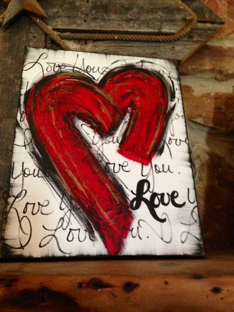 Textured Heart Art I Love You by DesignsbyDarlaT on Etsy, $48.00