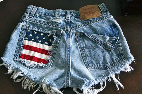 Levis 501 button fly High waist destroyed denim shorts super frayed with US flag and studs size XX Small