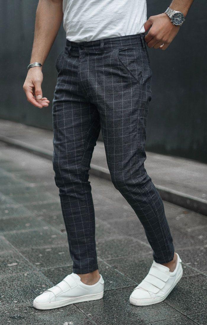 Pantalon Chino Icwear Tartan Gris 54 00 Pantalones De Cuadros Hombre Pantalones De Vestir Hombre Pantalones De Hombre Moda
