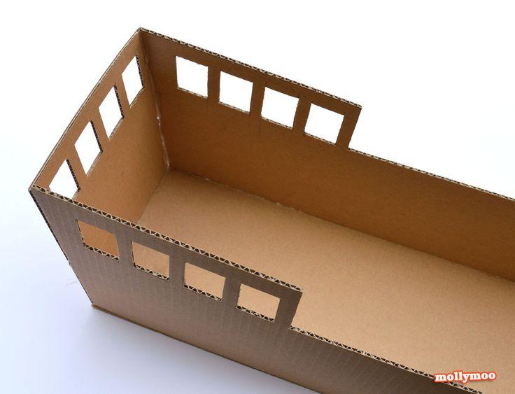 Diy cardboard pirate ship craft tutorial diy cardboard for Cardboard pirate ship template