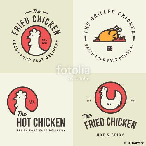 Vector: Set of chicken meat logo, badges, banners, emblem and design elements for food shop and restaurant. Vector illustration.